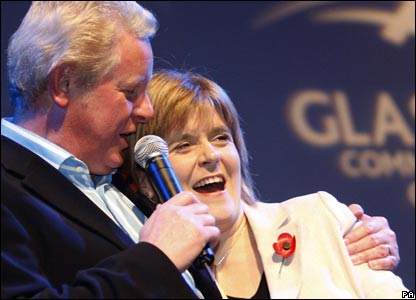 Deputy First Minister Nicola Sturgeon gets a hug from TV presenter Dougie Donnelly