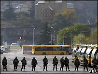 Georgian soldiers in central Tbilisi - 9/11/2007
