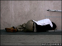 A man sleeps rough on the streets (file picture)
