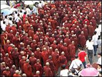 Buddhist Monks protest in Rangoon on 24 September 2007