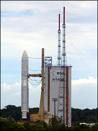 Ariane on the launch pad (BBC)
