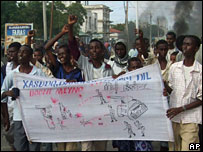 Angry demonstrators march through the streets of Mogadishu on Friday 9 November