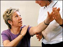 MS patient receiving physiotherapy