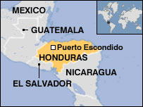 Map of Puerto Escondido, Honduras