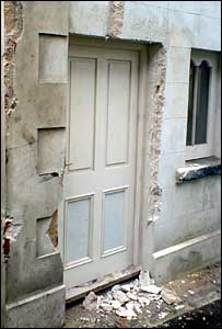 damaged doorway in Llangadog