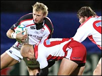 Ulster's Roger Wilson is tackled by Nick Wood at Ravenhill