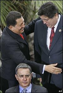 Hugo Chávez, Alan García y Álvaro Uribe