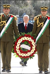 Mr Abbas with wreath at ceremony, 10 November 2007