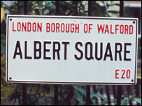 Street name sign for Albert Square