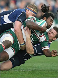 Leicester's giant Fijian Seru Rabeni is brought down by the Leinster defence
