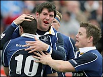 Felipe Contepomi (left) and Brian O'Driscoll congratulate try scorer Shane Horgan