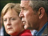 German Chancellor Angela Merkel and US President Bush. 10 Nov
