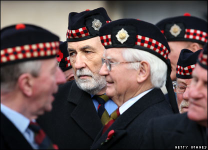 Veterans from The Royal Scots Regiment prepare to take part in Remembrance Sunday ceremonies.