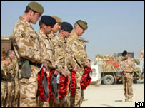 British troops in Afghanistan on Remembrance Sunday