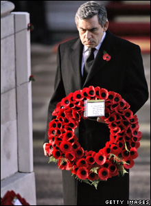 Prime Minister Gordon Brown laying a wreath at the Cenotaph.