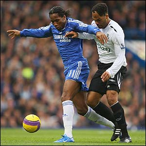 Didier Drogba provides a constant threat to the Everton defence