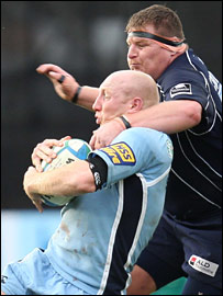 Bristol prop Darren Crompton's sin-binning for this high tackle on Tom Shanklin was a turning point