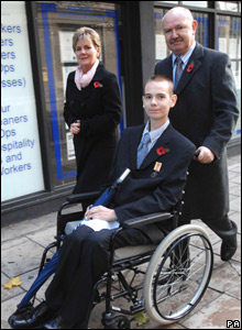 Jamie Cooper, the youngest soldier seriously injured in Iraq, in a wheelchair.