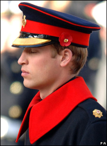 Prince William at the Cenotaph in London on Remembrance Day