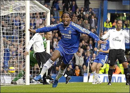 Drogba celebrates after giving Chelsea the lead