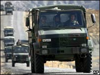 A Turkish military convoy travels in Sirnak province near the Iraq border