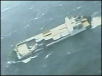 Russian TV grab of freighter caught in storm - 11/11/07