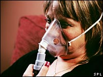 Woman with respiratory problems