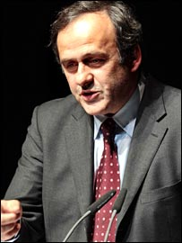 Michel Platini at a meeting