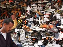 Piles of Chinese-made shoes in Addis Ababa