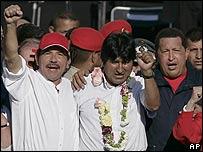 Nicaragua President, Daniel Ortega (L), Bolivia President, Evo Morales (C) and Hugo Chavez (R)