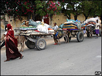 Residents flee Mogadishu, their belongings on donkey carts 10 Nov 07