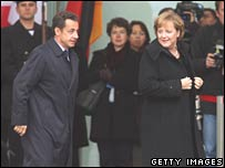 Nicolas Sarkozy and Angela Merkel at the Chancellery in Berlin on 12 November 2007