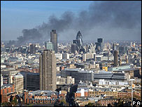 Smoke from the Stratford fire could be seen from the London Eye.