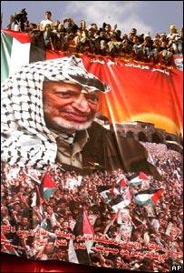 People sitting atop banner of Yasser Arafat