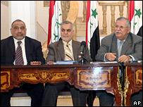 Adel Abdul Mahdi (l), Tarik al-Hashemi (c) and Jalal Talabani