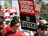 Writers on strike in Los Angeles