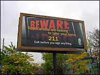 Beware of predatory mortgage lenders sign in Cleveland