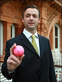 John Stephenson with one of the new pink balls