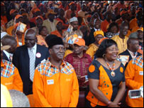 Raila Odinga (front row with hat)  at the ODM 2007 election campaign launch