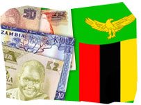 Zambian flag and currency