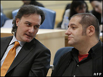 Cartoonist Guillermo Torres (left) and writer Manel Fontdevila of Spanish magazine El Jueves await their verdict - 13/11/2007