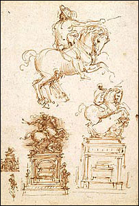 Sketches for an equestrian monument, c. 1508-10 (The Royal Collection � 2007 Her Majesty Queen Elizabeth II)