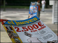The cover of the offending issue of El Jueves - file photo