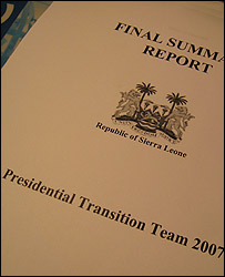 Photo of the secret Sierra Leone report