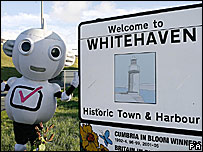 Digital TV mascot outside Whitehaven