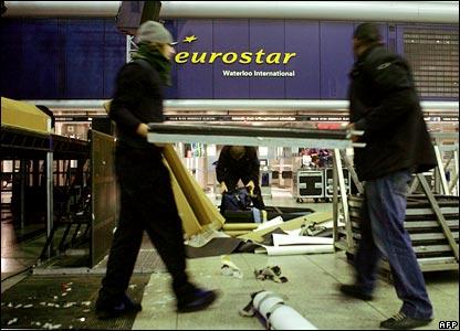 Workers dismantle fittings at Waterloo