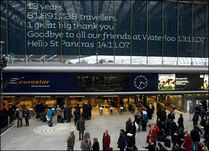 Eurostar sign thanks customers at Waterloo on Tuesday
