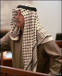 Ali Hassan al-Majid known as 'Chemical Ali' hears the verdict in his trial on 24 June 2007