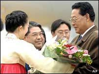 North Korean Prime Minister Kim Yong-il on arrival in Seoul