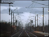 Empty railway tracks in Benfeld near Strasbourg, eastern France
